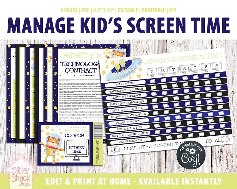 EDITABLE Screen Time Chart Kids Weekly Reward Chart image 0