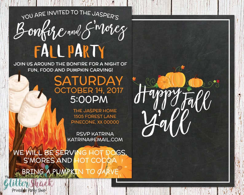 Fall Party Invitation Happy Fall Y'all Autumn Party image 0