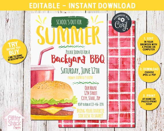 end of school invitation editable summer bbq party etsy