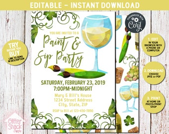 Paint And Sip Party Invitation, Art Party Invitation, Painting Party Invite, Girl's Night Out Wine Party Invitation, EDIT & PRINT INSTANTLY