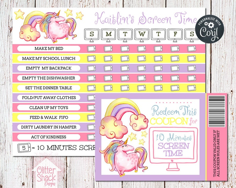 PRINTABLE Screen Time Chart Screen Time Reward Chart Screen image 0