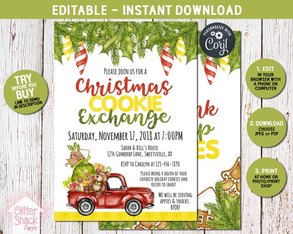 Christmas Cookie Exchange.Christmas Cookie Swap Holiday Party Invite Printable Christmas Cookie Exchange Party Invitation Eat Drink Swap Cookies Xmas Party Editable