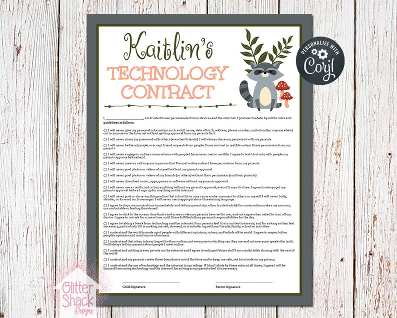 PRINTABLE Screen Time Rules Contract Screen Rules Technology image 0