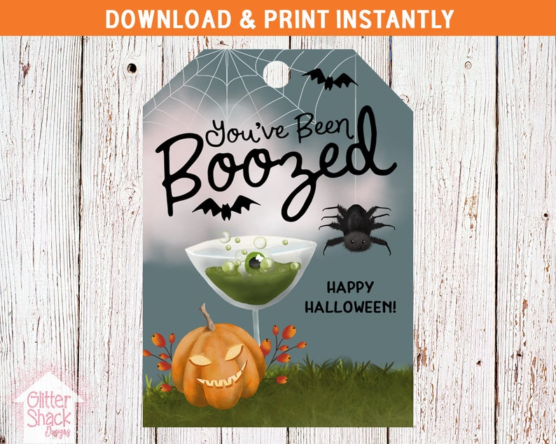 You've Been Boozed Printable Halloween Tags For Beer image 0