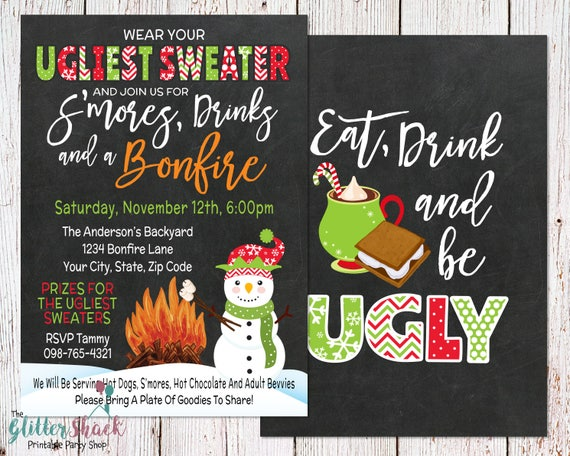 Tacky Ugly Sweater Christmas Party Invitation Ugly Tacky Etsy