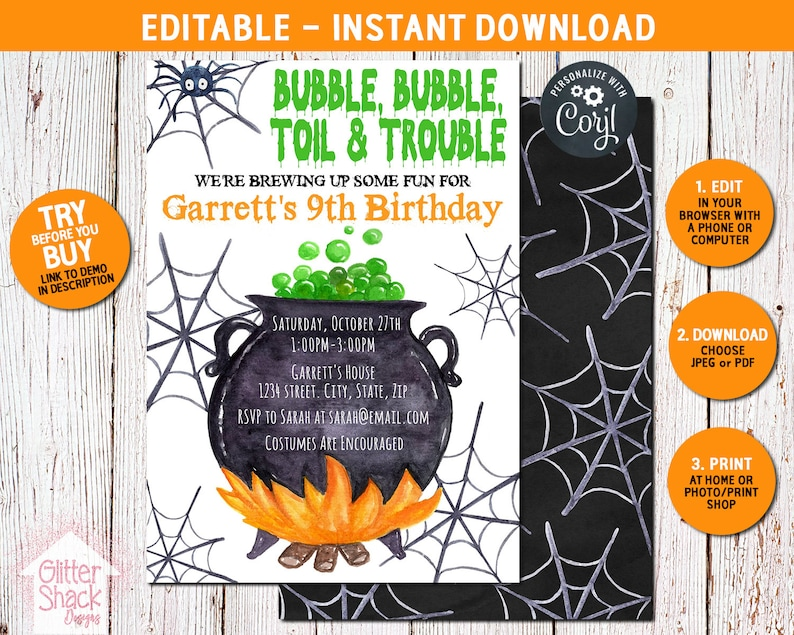 Halloween Birthday Invitations Halloween Invitations image 0