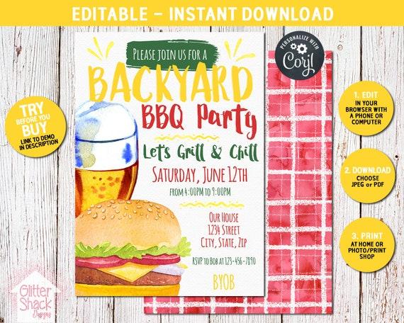 backyard bbq invitation summer bbq party invitation summer etsy