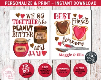 Cute Best Friend Gift For Tween Teen Girls, Peanut Butter And Jam Wall Art Makes A Sweet BFF Birthday Or Christmas Present, Instant Download
