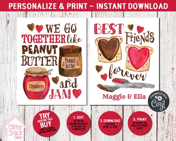 Printable Peanut Butter And Jam Best Friend Wall Art