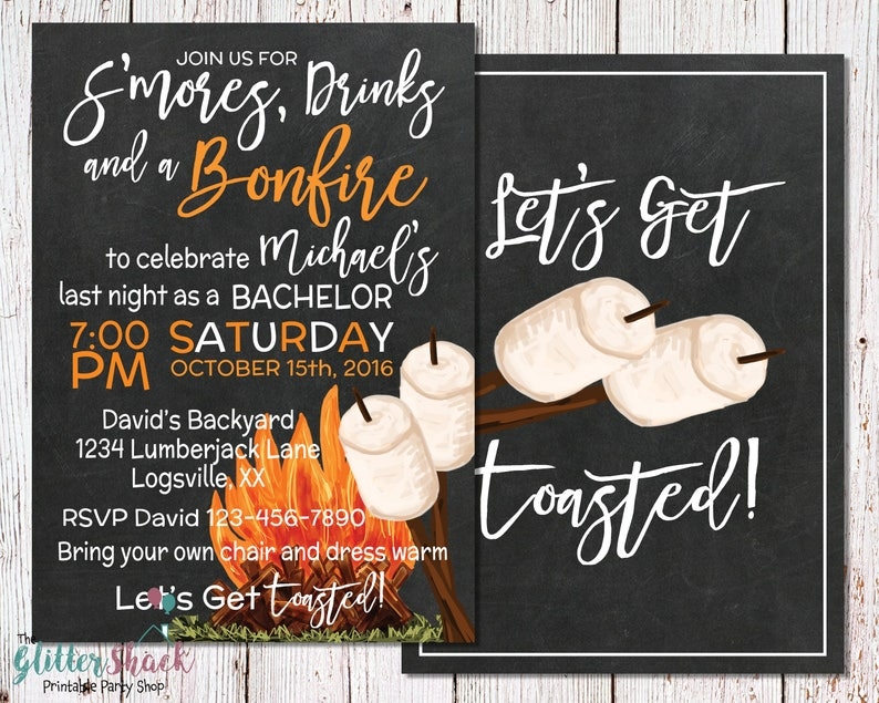 S'mores And Bonfire Bachelor Party Invitation Let's image 0