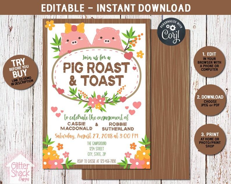 Pig Roast Invitation Roast and Toast I Do BBQ Pig Roast image 0