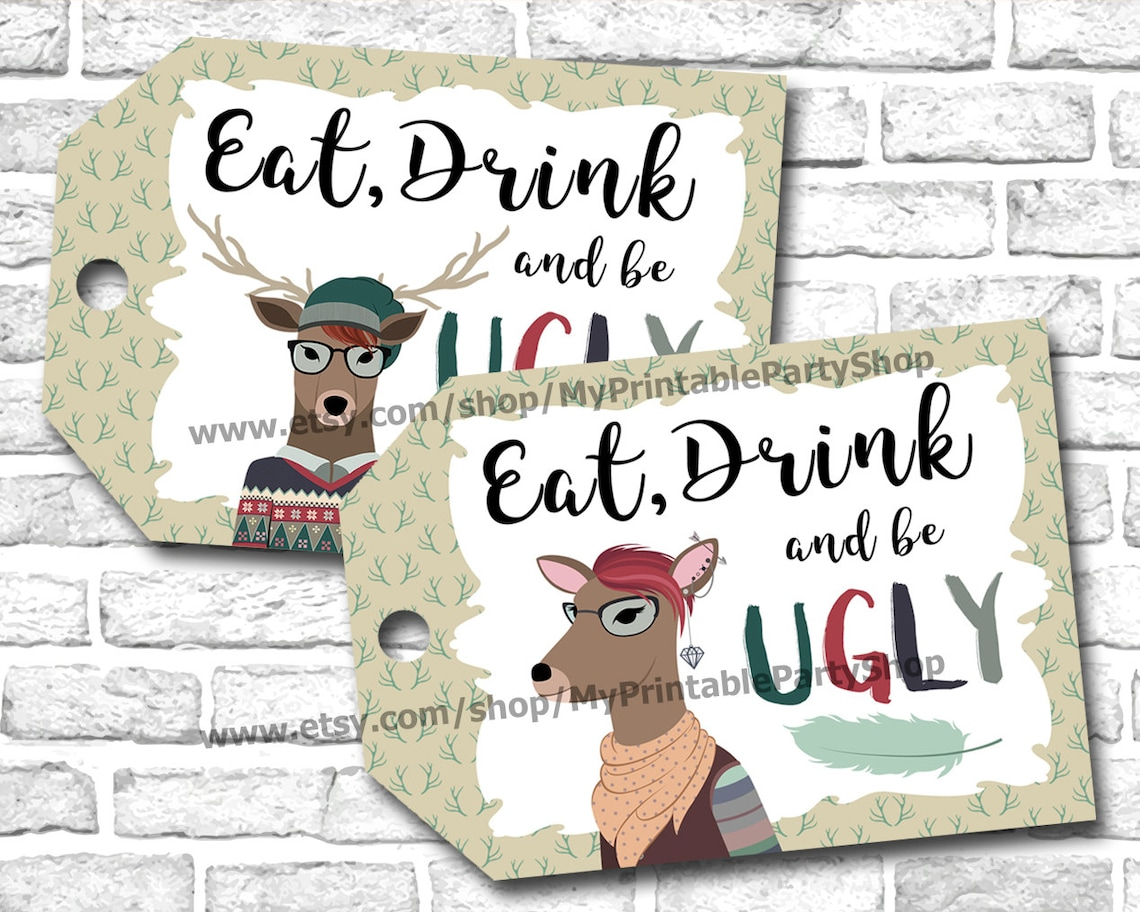 Hipster Ugly Sweater Christmas Party Gift Tags