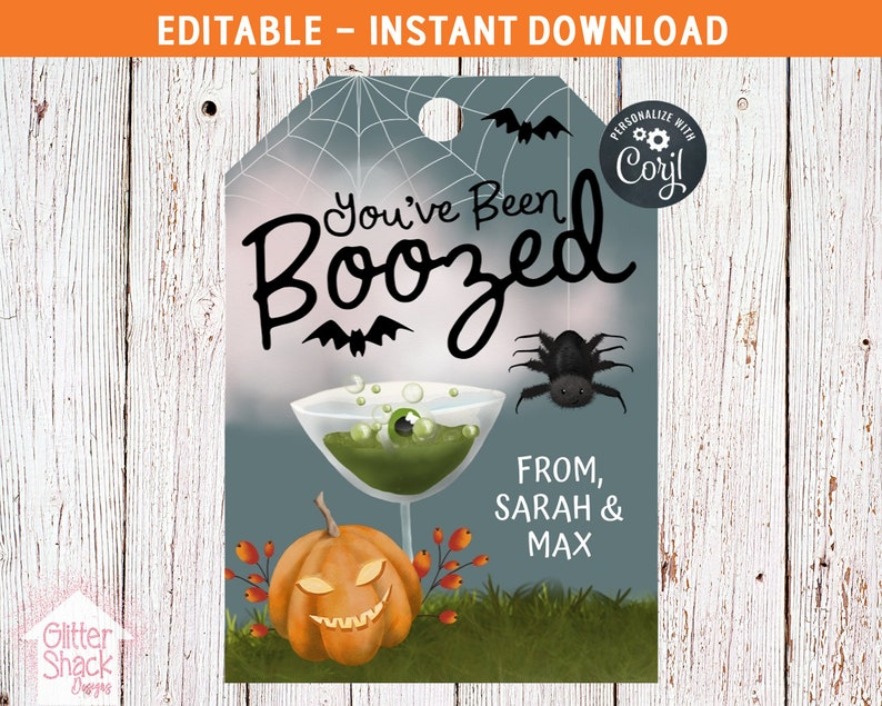 You've Been Boozed PRINTABLE Halloween Tags For Attaching image 0