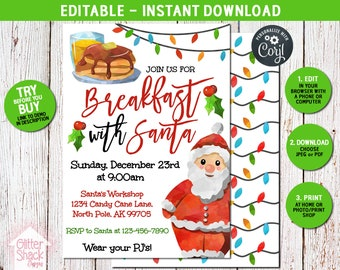 Breakfast With Santa Invitation, Pancakes With Santa Invite, Kids Christmas Party, Christmas Pancakes And Pajamas, EDIT & PRINT INSTANTLY