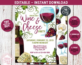 Wine And Cheese Invitation, Wine Invite, Wine Tasting Party, Adult Party Invitation, Holiday Party Invitation, EDIT & PRINT INSTANTLY