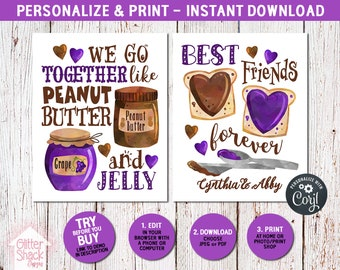 Cute BFF Gift For Tween Teen Girls, Peanut Butter And Jelly Signs Make A Sweet Best Friend Birthday Or Christmas Present, Instant Download