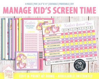 EDITABLE Unicorn Screen Time Chart, Kids Weekly Reward Chart PRINTABLE Reward Coupons, Internet Contract, Password Keeper, Screen Time Rules