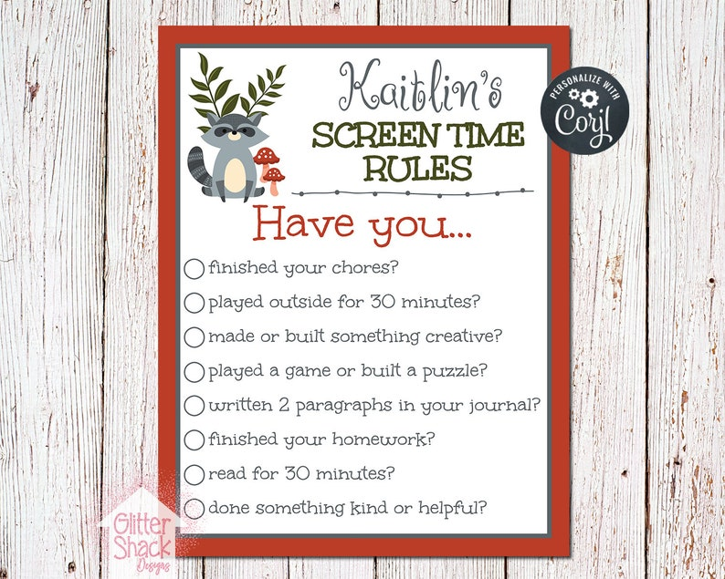 PRINTABLE Screen Time Rules Sign Screen Time Rules Printable image 0