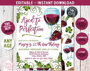 60th Birthday Party Invitation, Aged To Perfection Invite, Any Age Milestone Adult Birthday Wine Invitation, EDIT & PRINT INSTANTLY