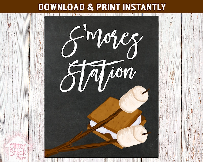 S'mores Station Sign Printable S'mores Party Sign image 0