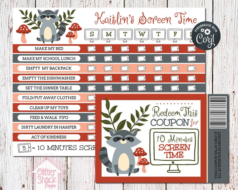 graphic relating to Printable Screen Time Charts titled PRINTABLE Display Period Chart, Display screen Period Gain Chart, Show Period Coupon codes, Display Season Gain Discount coupons, Weekly Chore Chart EDITABLE PDF History