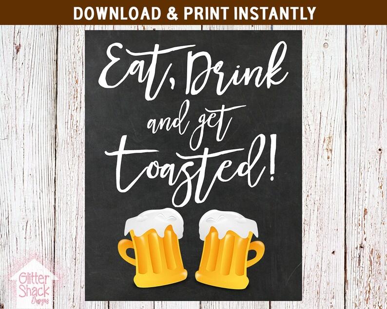 Eat Drink And Get Toasted Chalkboard Sign Printable Bonfire image 0
