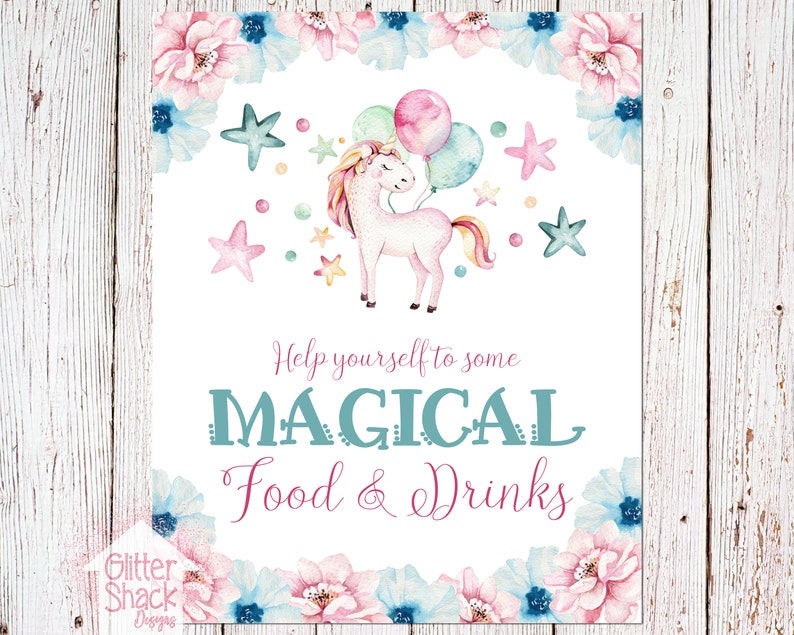 Unicorn Food Sign Unicorn Drink Sign Food Drink Sign Table image 0