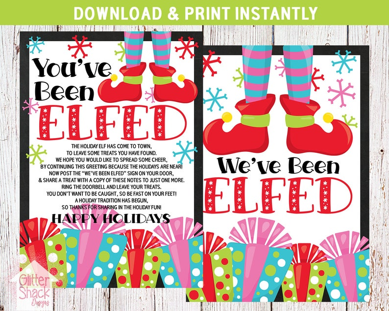 image regarding You've Been Elfed Printable identified as Youve Been Elfed Signal, Elf Printable, Weve Been Elfed Signal, Elf Indication, Elf Video game, Printable Elf Video game, Holiday vacation Elf, Trip Printables