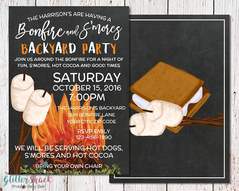 S'mores & Bonfire Backyard Party Invitation For An Outdoor image 0