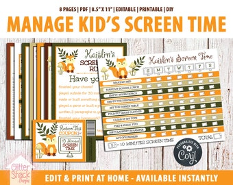 EDITABLE Screen Time Chart, Kids Weekly Reward Chart PRINTABLE, Reward Coupons, Internet Contract, Password Keeper, Screen Time Rules, Fox