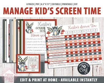EDITABLE Screen Time Chart, Kids Weekly Reward Chart PRINTABLE, Reward Coupons, Internet Contract, Password Keeper, Screen Time Rules