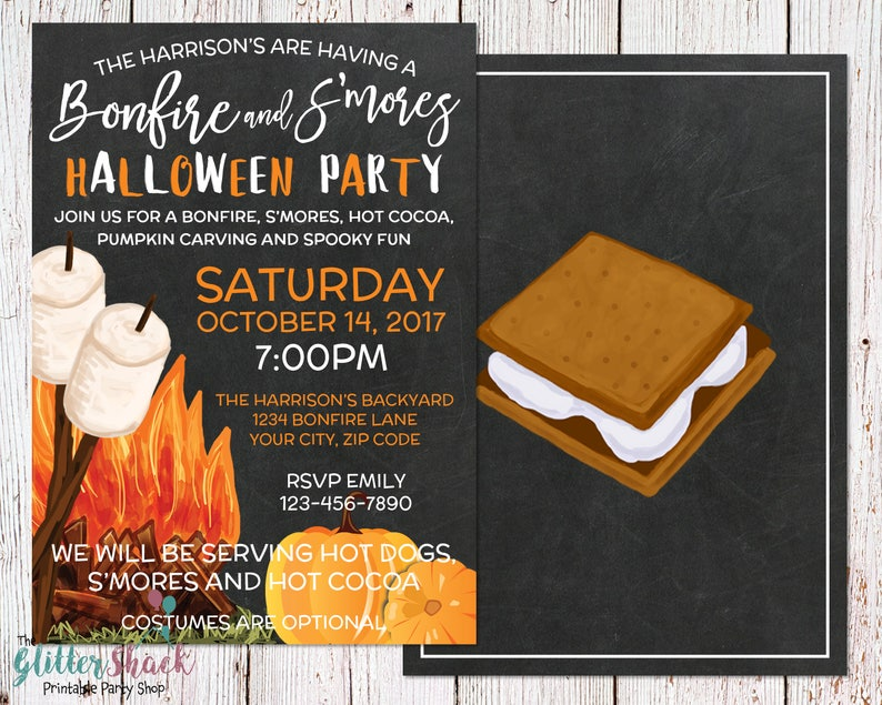 Outdoor Halloween Party Invitation PRINTABLE S'mores And image 0