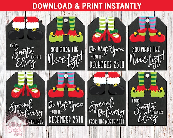 Printable Christmas Name Tags.Printable Christmas Gift Tags Holiday Gift Tags Christmas Tags Holiday Tags Xmas Tags Elf Tags Elf Christmas Tags Instant Download