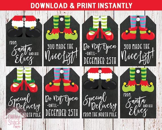 Christmas Name Tags.Printable Christmas Gift Tags Holiday Gift Tags Christmas Tags Holiday Tags Xmas Tags Elf Tags Elf Christmas Tags Instant Download
