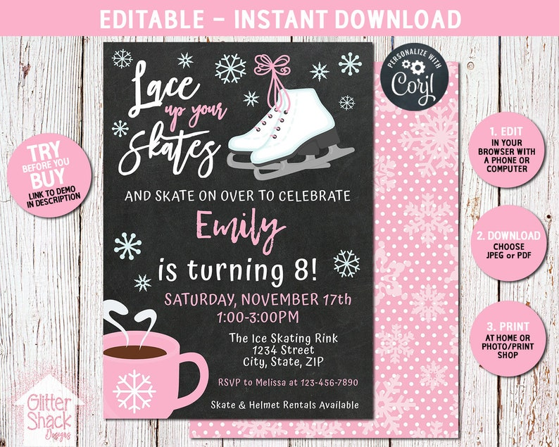 Ice Skating Invitation For A Girls Winter Themed Birthday image 0