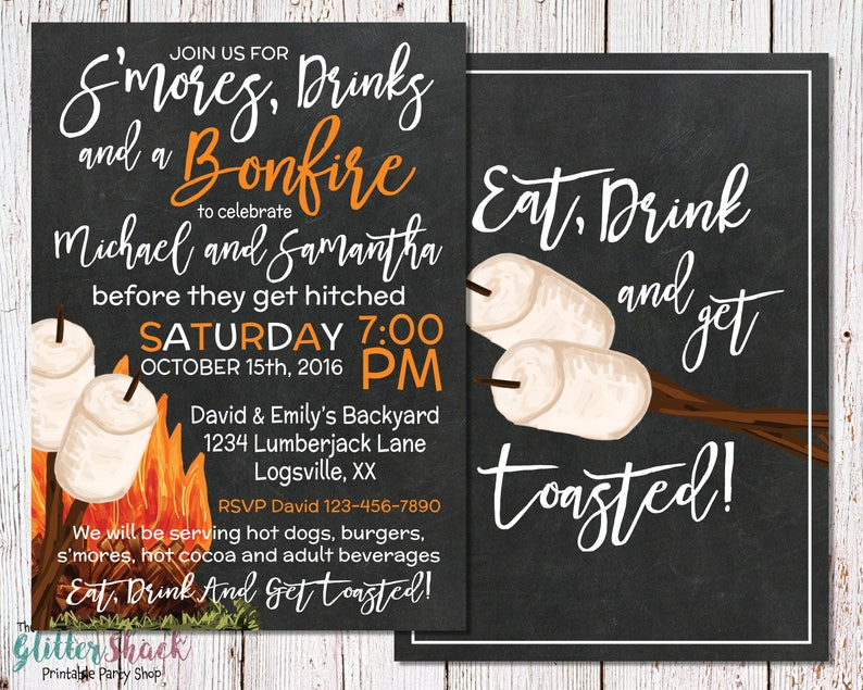 Eat Drink And Get Toasted Invitation S'mores & Bonfire image 0