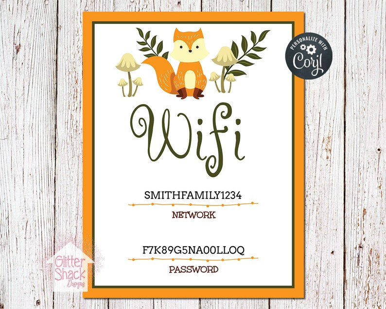 PRINTABLE Wifi Sign Wifi Password Sign Wifi Network Sign image 0