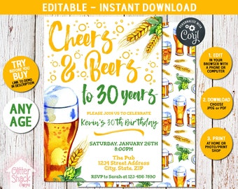 Cheers And Beers Birthday Invitation, Cheers And Beers To 30 Years, 40 Years, 50 Years, Any Age Adult Birthday Invite EDIT & PRINT INSTANTLY