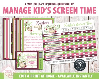 EDITABLE Screen Time Chart, Kids Weekly Reward Chart PRINTABLE, Reward Coupons, Internet Contract, Password Keeper, Screen Time Rules, Sloth