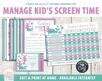 EDITABLE Screen Time Chart, Kids Weekly Reward Chart PRINTABLE, Reward Coupons, Internet Contract, Password Keeper, Screen Time Rules, Ocean