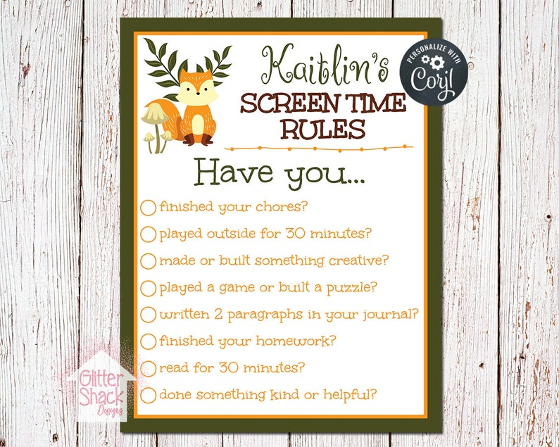 graphic relating to Screen Time Rules Printable known as PRINTABLE Display screen Period Laws Signal, Show Year Suggestions Printable, Engineering Guidelines, Relatives Laws, Woodland Fox Show Legislation EDITABLE PDF Record