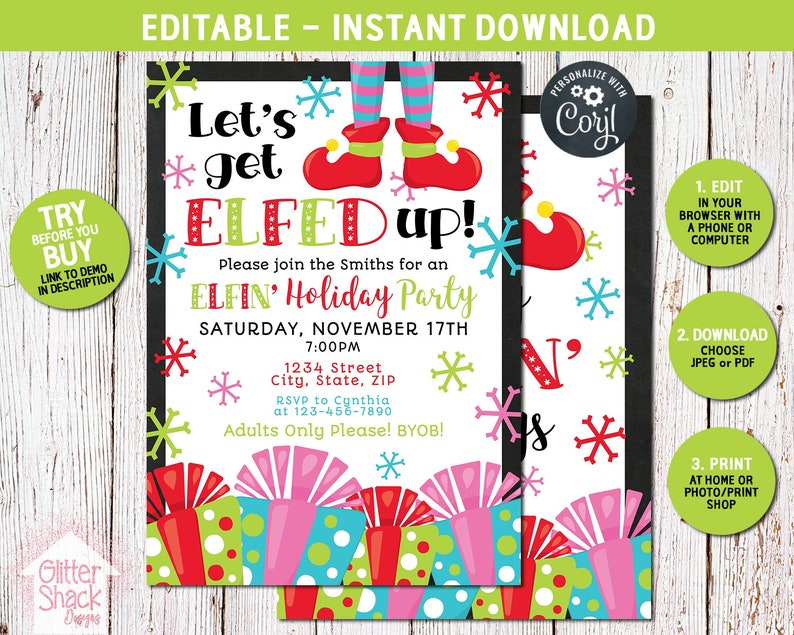 Let's Get Elfed Up Invitation Elf Invite Funny Holiday image 0