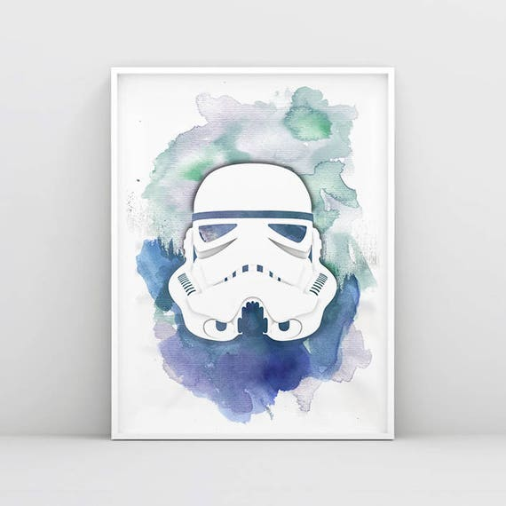 Star Wars Watercolour Storm Trooper A1 To A4 Size Poster Prints