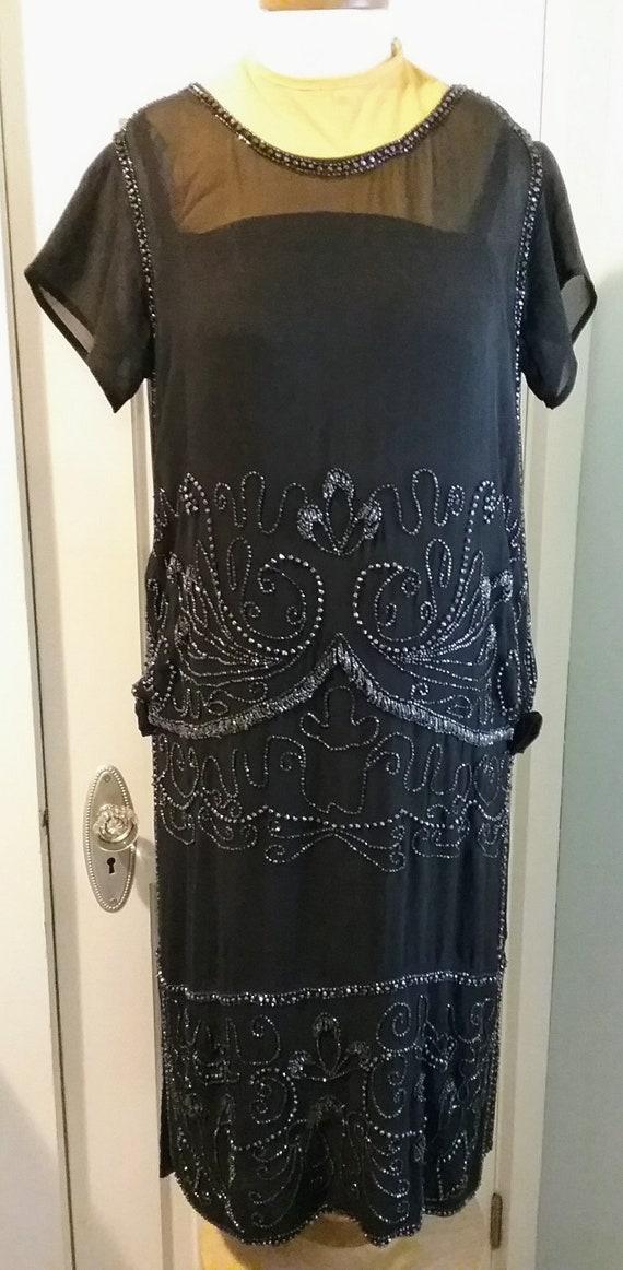 1920s 20s Flapper Beaded Silk Chiffon Party Dress