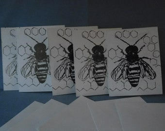 Bees Blank Cards five pack