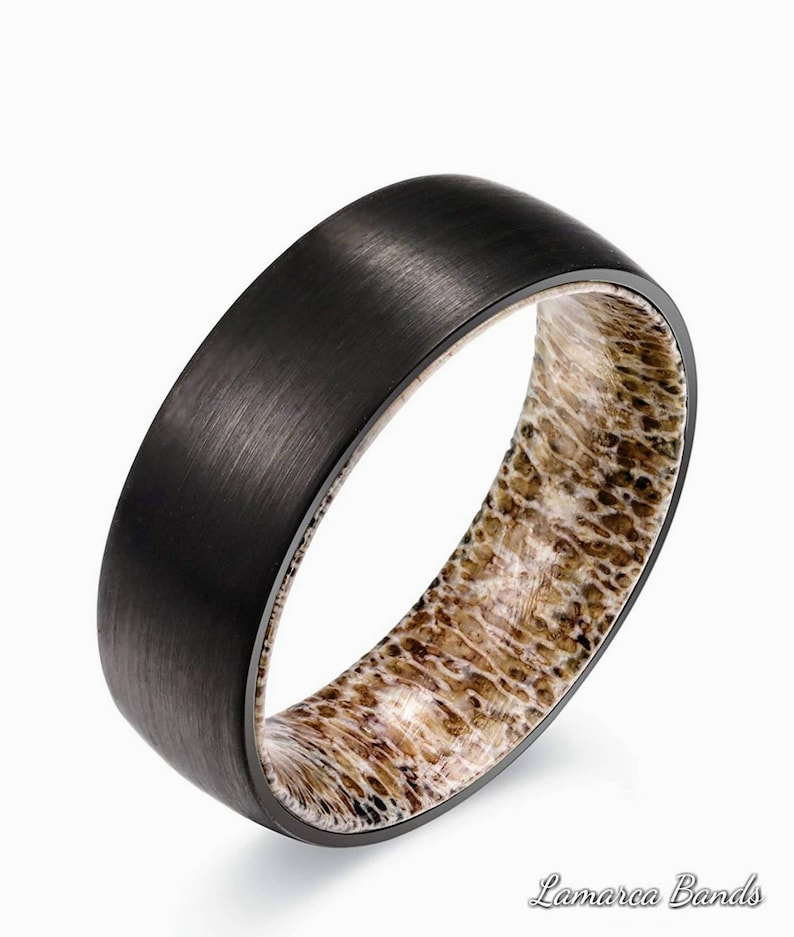 Mens Wedding Band Deer Antler Ring Hunting Ringsblack Deer Etsy