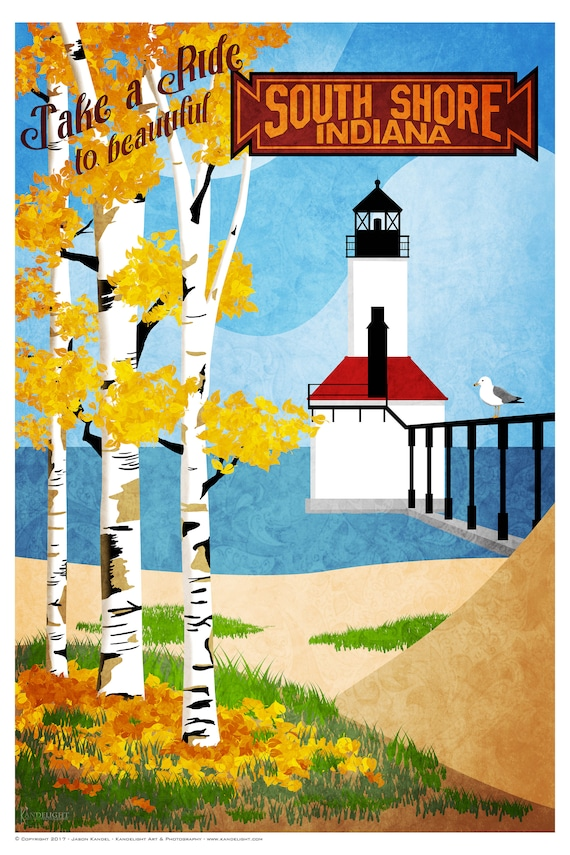 Autumn Indiana State Park by South Shore Line vintage train travel poster repro