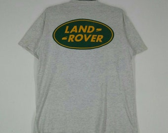 1b5a2a10bc1 Vintage LAND ROVER T-shirt nice design spell out crew neck grey colour  medium size