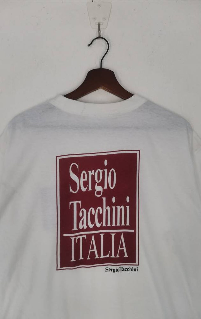 Rare! SERGIO TACCHINI t-shirt nice design white colour large size