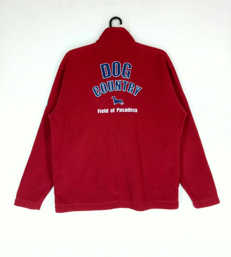 Rare! DOG COUNTRY fleece jacket nice design spell out embroidery full zipper red colour medium size